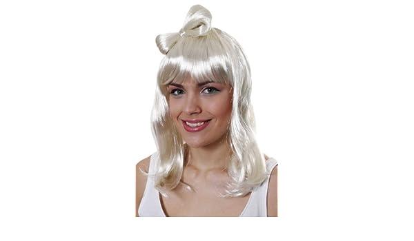 POPSTAR BOW BLONDE WIG LIKE LADY GAGA POP SINGER U36165 (peluca): Amazon.es: Juguetes y juegos