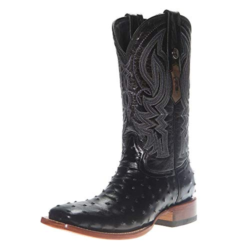 Tanner Mark Boots Mens Tanner Mark Classic Full Quill Ostrich Print Cowboy Boot 10.5 D Black