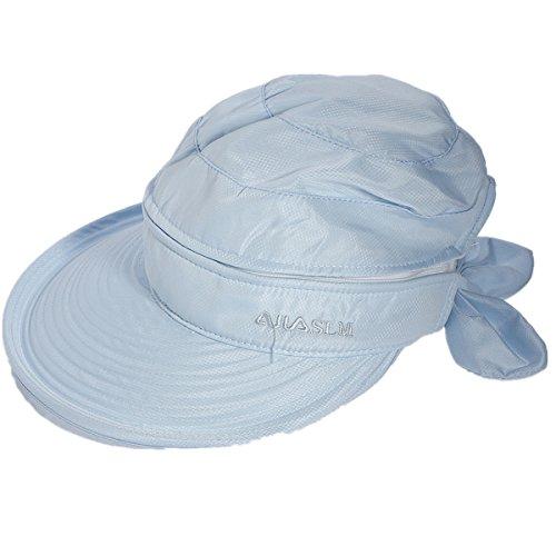 OURBAG Damen faltbare Schlapphut Sonnenhut Strohhut Sommerhut Damenhut Anti-UV-Hütte blau
