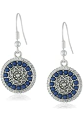 "NINE WEST VINTAGE AMERICA ""Glitzy Gypsy"" Worn Silver and Denim Blue Tone Disc Drop Earrings"