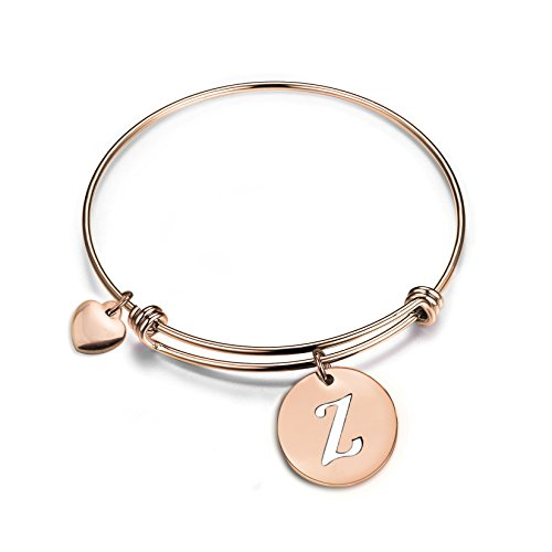 Heart Wire Gold (Zuo Bao Rose Gold Initial Disc Expandable Wire Bracelet Bangle with Heart Charm (Z))