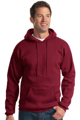 Ultimate Cotton Hooded Pullover (Port & Company Men's Ultimate Pullover Hooded Sweatshirt L Cardinal)