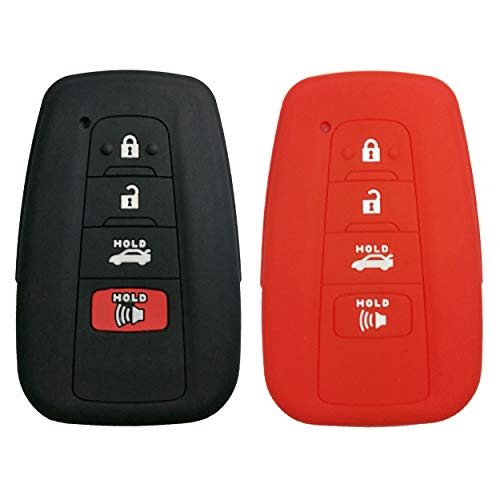 Coolbestda 2Pcs Rubber 4buttons Key Fob Protector Case Keyless Entry Holder Cover Skin Jacket for 2018 Toyota Camry C-HR Prius HYQ14FBC Black Red