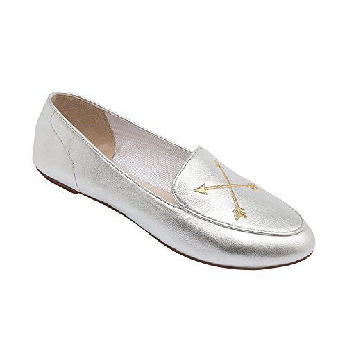 Metallic Embellished (PIC/PAY Maple - Women's Embroidered Mocassin Flat - Velvet Metallic Embellished Leather Loafer Silver Metallic Leather 9M)