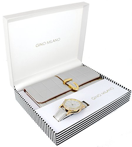 Women's Classy Leather Band Matching Watch & Fold-Over Wallet Gift Set - Silver ()