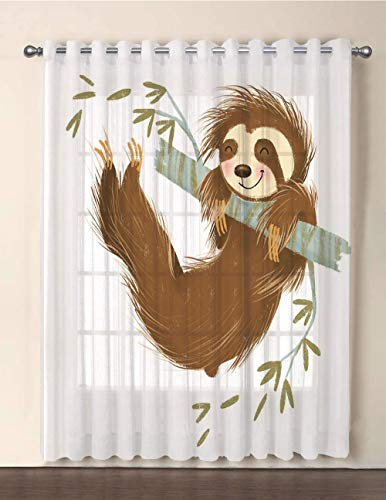 One Panel Extra Wide Sheer Voile Patio Door Curtain,Sloth,Happy Cheerful Animal Swinging on Tree Branch Hand Drawn Cartoon Illustration,Brown Khaki Grey,for Sliding Doors(108