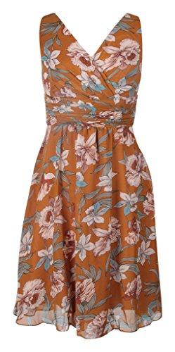 cuello corto fiesta gasa Dress pico Print en Brown cóctel My Vestido Evening Floral q6twSq8