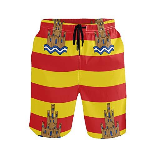 ICE-SALT Men's Flag of Ibiza Quickly-Dry Beach Shorts Swim Trunks