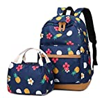 Teen Girls School Backpack Set Bookbag and Lunch Bag Junior Laptop Backpack Travel Daypack Flowers Pattern Water Resistant Navy For Sale