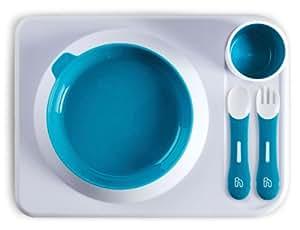 Hoppop 31130001 Atablo - Juego básico de utensilios infantiles: bandeja, plato, vaso, cuchara y tenedor (5 piezas), color azul y blanco