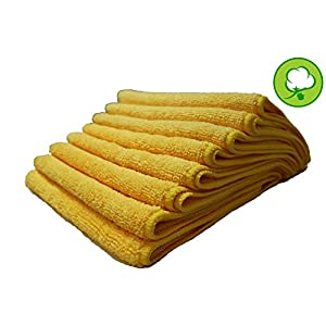 """A&H- PREMIUM GRADE 48 PACK 16""""X16"""" YELLOW GOLD 330GSM PLUSH THICK MICROFIBER DETAILING TOWELS - IDEAL FOR HOME, KITCHEN, CAR CARE AND MORE! HEAVYWEIGHT AND TOUGH"""
