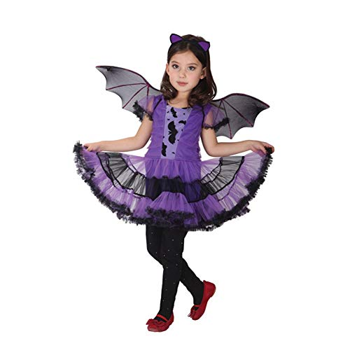 Halloween Costumes Cosplay Purple Little Witch Clothes with Wings for Kids Girls Party (Size : XL) ()