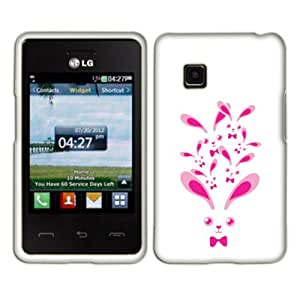 Fincibo (TM) Premium Hard Plastic Snap On Protector Cover Case Front And Back For LG 840G - Rabbit Family