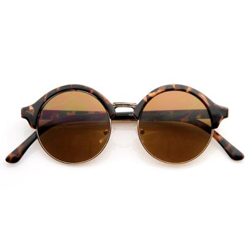 Vintage Inspired Classic Half Frame Semi-Rimless Round Circle Sunglasses (Tortoise) (Tortoise Half Frame Plastic)