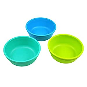 Re-Play Made in the USA 3pk Bowls for Easy Baby, Toddler, and Child Feeding - Aqua, Sky Blue, Green (Under The Sea)