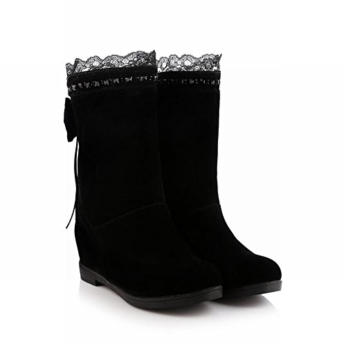 Carolbar Womens Fashion Bows Rhinestone Tassels Lace Hidden Wedge Heel Dress Boots Black eUrv1TTrp3