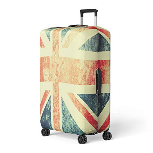 Pinbeam Luggage Cover Blue Flag Colourful Grungy Vintage Union Jack Red Travel Suitcase Cover Protector Baggage Case Fits 26-28 inches