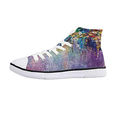 Watercolor Flower Home Decor Comfortable High Top Canvas Shoes,Abstract Herbs Weeds Blossoms Ivy Back with Florets Shrubs Design for Women Girls,US 7.5