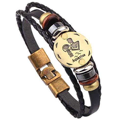 Vintage Leather 12 Constellations Bracelets Men Jewelry Brand Braided Black Zodiac Casual Punk Rock Bracelets & Bangles,Aquarius