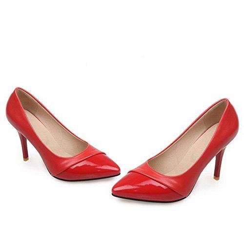 2414b0ec47 AllhqFashion Damen Rein Lackleder Hoher Absatz Ziehen auf Spitz Zehe Pumps  Schuhe Rot ...