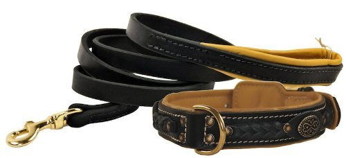 """Dean and Tyler Bundle – One """"Dean's Legend"""" Collar Black Padding, 24″ by 1-1/2″ With One Matching """"Soft Touch"""" Leash, 6 FT Brass Snap Hook – Black"""