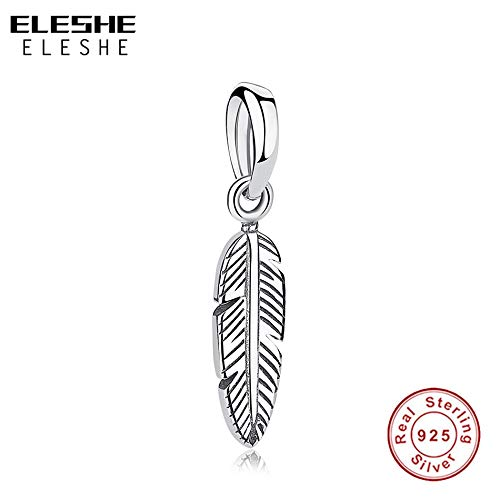 Calvas Fit Original Charm Bracelets /& Bangles 925 Sterling Silver Bead Charm Feather Pendant Women DIY Authentic Jewelry