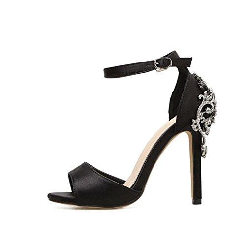 Xmansky Damen Luxus Diamant Schnalle Gurt Schuhe SandalenHigh Heels Pumps Frau Knöchel Stiefel Sandalen Schwarz