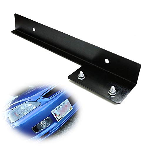 iJDMTOY JDM Black Universal Fit Front Bumper License Plate Relocator Bracket Holder Bar