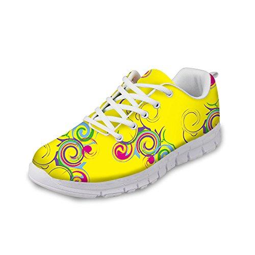 Per Te Design Elegante Donna Womens Sneaker Stringate Traspirante Robuste Scarpe Da Corsa Giallo A