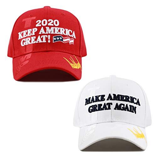 The Hat Depot Exclusive Donald Trump Slogan Keep America Great/Make America Great Again 3D Cap (KAG Combo - WH)