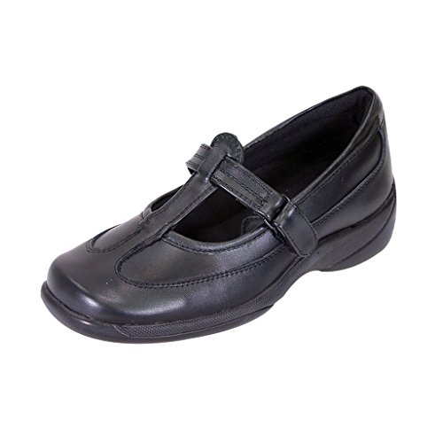 24 Hour Comfort  Liz (2008) Women Extra Wide Width Leather T-Strap Mary Janes Black 7.5 by 24 Hour Comfort