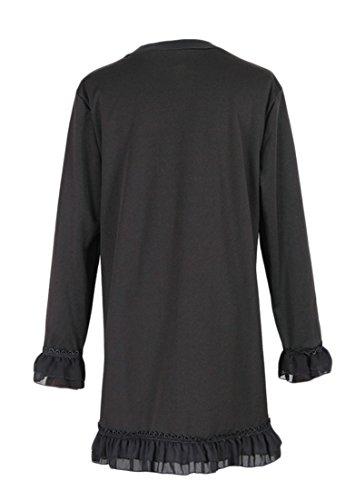 Cruiize Perle De Clou À Manches Longues Vendange Épissure Maille Volantée Midi Féminin Robe Noire