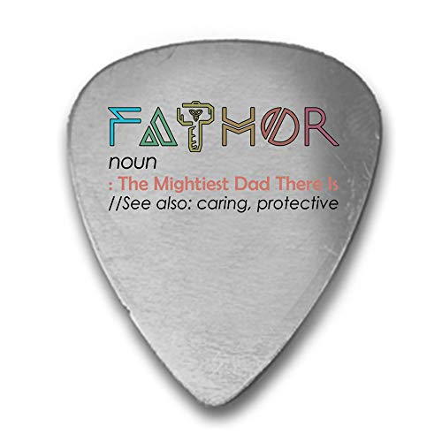 Printed Guitar Pick Picks - Fathor Father Thor Noun Definition Father's Day - 3D Color Printed Guitar and Bass Pick Gift Silver