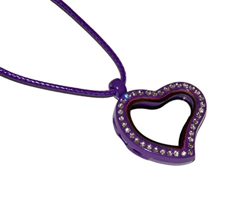 Purple Heart Shaped Floating Locket Necklace – Add Your Own Charms Ect to Create Your Perfect Custom Locket – Gem Studded Face Magnetic Open -