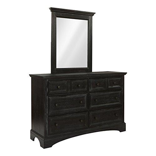 Mahogany N Mirror Dresser - INSPIRED by Bassett BP-4200-0203B Dresser and Mirror, Rustic Black