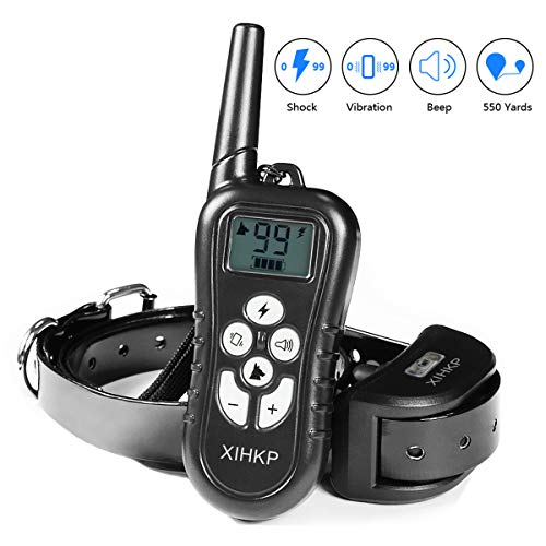 XLHLKP Dog Training Collar Dog Training Shock Collar with 500 Yards Remote Control 4 Modes Night Light Beep Vibration Shock Rechargeable E Collar for Small Medium Large Dogs
