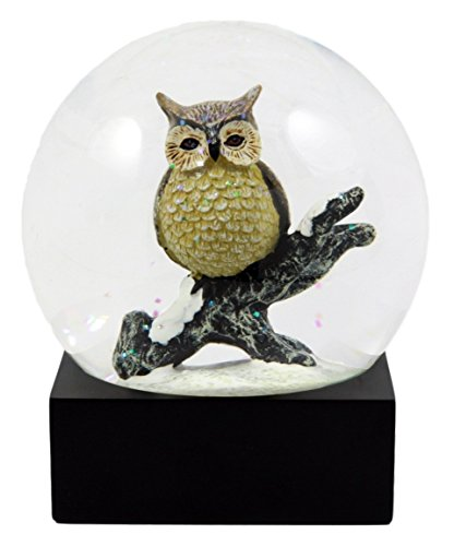 Ebros Gift Great Horned Owl Perching On Tree Branch Glitter Water Globe Nocturnal Bird Hunter Collectible Figurine 4.5