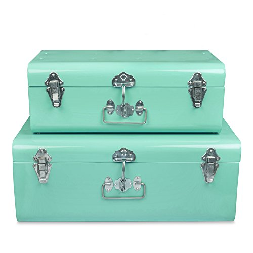 ELAN Vintage Style Decorative Metal Trunk, Set of 2, College Dorm and Bedroom Footlocker Trunks. (Aqua)