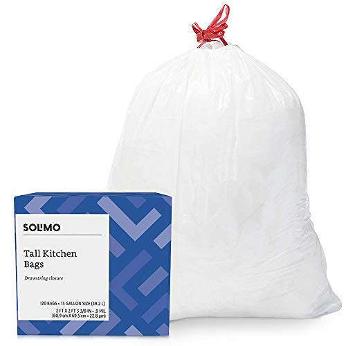 - Amazon Brand - Solimo Tall Kitchen Drawstring Trash Bags, 13 Gallon, 120 Count