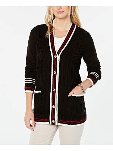 Tommy Hilfiger Striped-Trim Mixed-Knit Cardigan, Black Combo, S (Tommy Hilfiger Women Cardigan)