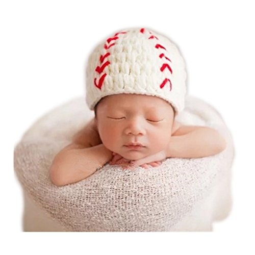(Hobees Cute Newborn Boy Girl Baby Costume Knitted Photography Props Baseball)