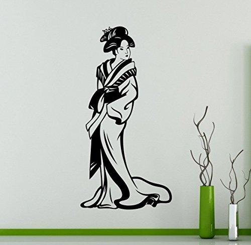 Japanese Geisha Wall Vinyl Decal Asian Culture Wall Sticker Home Wall Art Decor Ideas Room Wall Interior Removable Design 1(gsa)