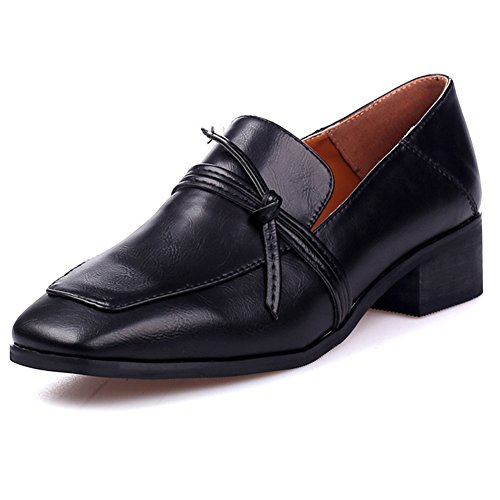 Btrada Womens Retro Vierkante Teen Penny Loafers Schoenen Casual Platte Mocassins Rijden Dikke Hiel Werkschoenen Zwart