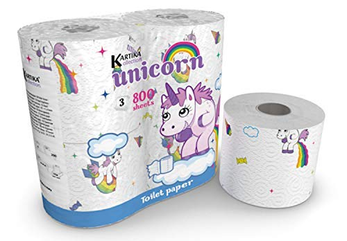 Toilet Paper Kids - Unicorn Toilet Paper Tissue 4 Rolls Pack - Birthday Party Limited Edition