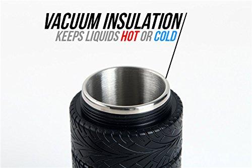 Tire design coffee tea mug stainless steel interior car - Travel mug stainless steel interior ...