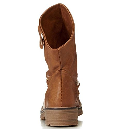 COOLCEPT con Donna On Pull Stivali Tacco Casual Basso Brown rqr5g