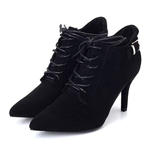 Futter Boots Stiefeletten Prom Fleece Wildleder Abend Winter Party Kleid Reißverschluss Frauen Black High Schnürschuhe Spitz Heels Seitlichem Stiletto 1azqaFw