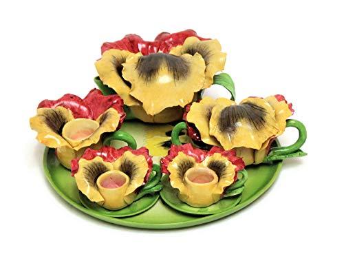 Unique Design Porcelain Miniature Yellow Pansy Flower Tea Set Tiny Home Fairy Garden Decor Accessories Kit Cute Dollhouse Kitchen Furniture Decoration Idea Set Collectible Item. (Pansy)