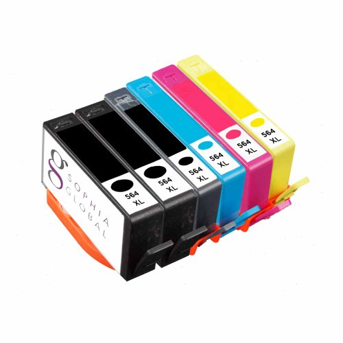 Sophia Global Remanufactured Ink Cartridge Replacement for HP 564XL B (2 Black, 1 Photo Black, 1 Cyan, 1 Magenta, 1 Yellow)