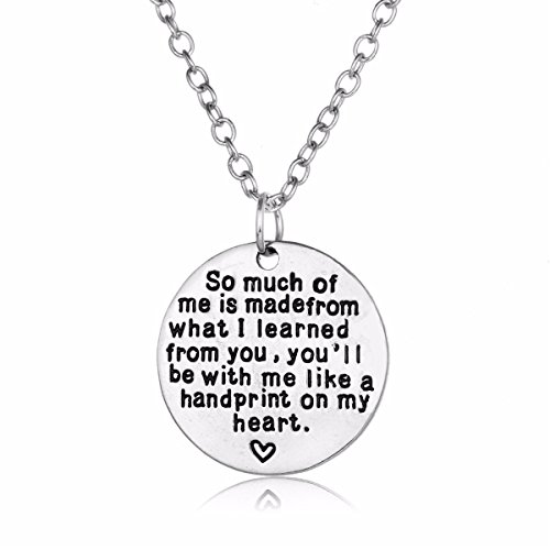 Round Pendant Teacher Necklace Personalized Engraved Charm Jewelry Graduation Appreciation Gift for Women